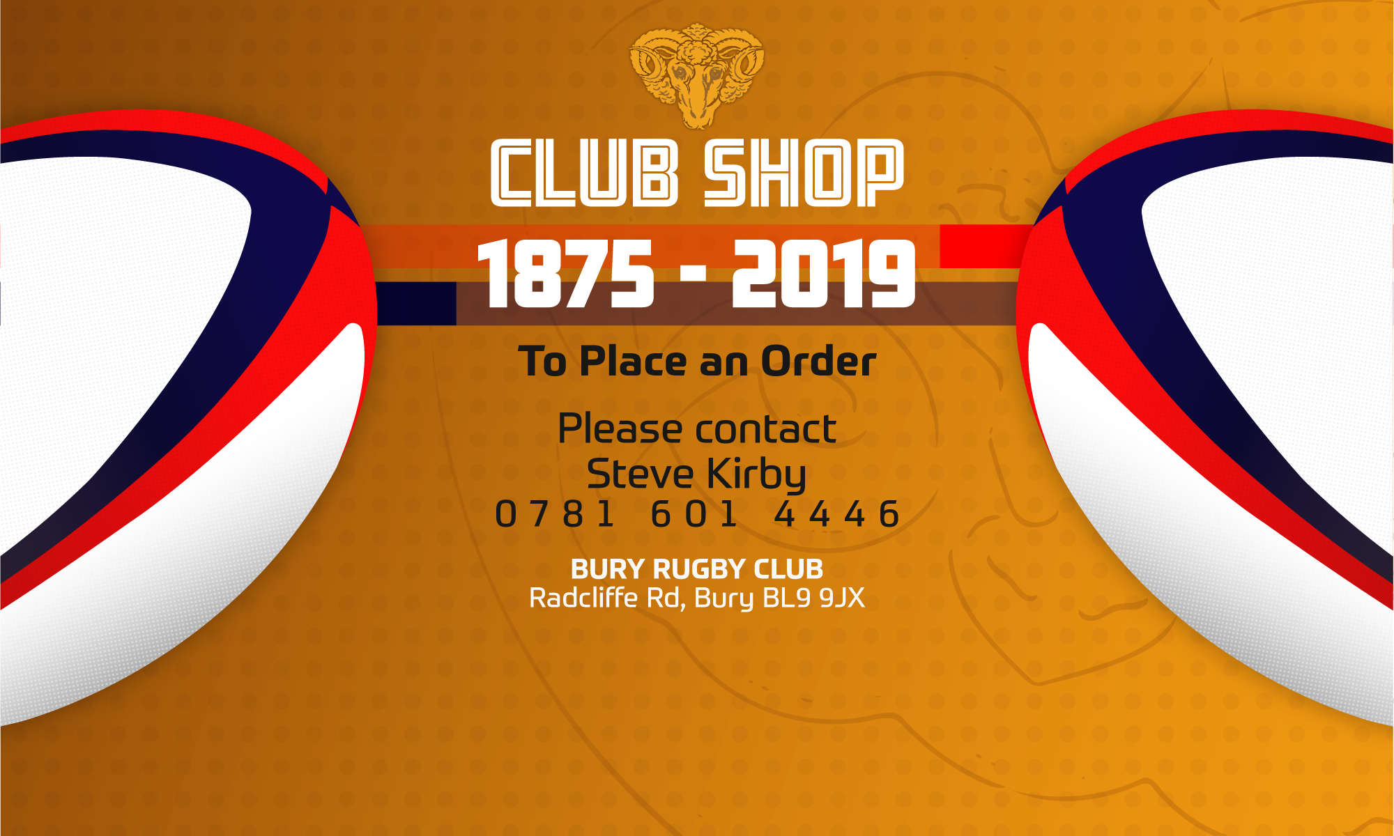 Club Shop Bury RUFC Header